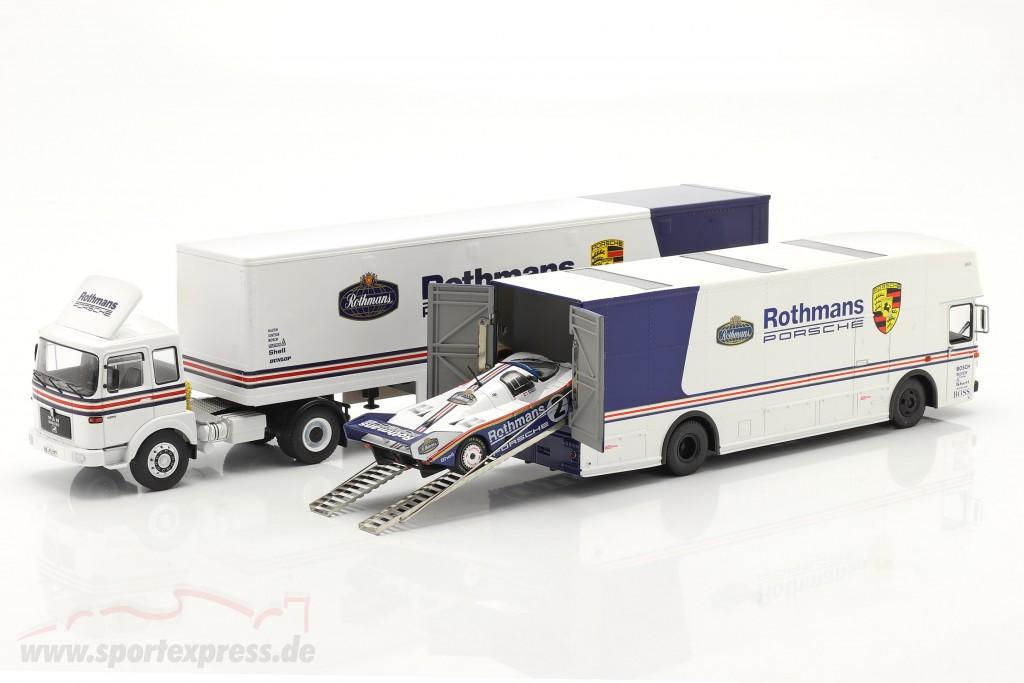 3-Car Set Rothmans: 2x Race Car Transporter with Porsche 956K  Schuco / Ixo / CMR